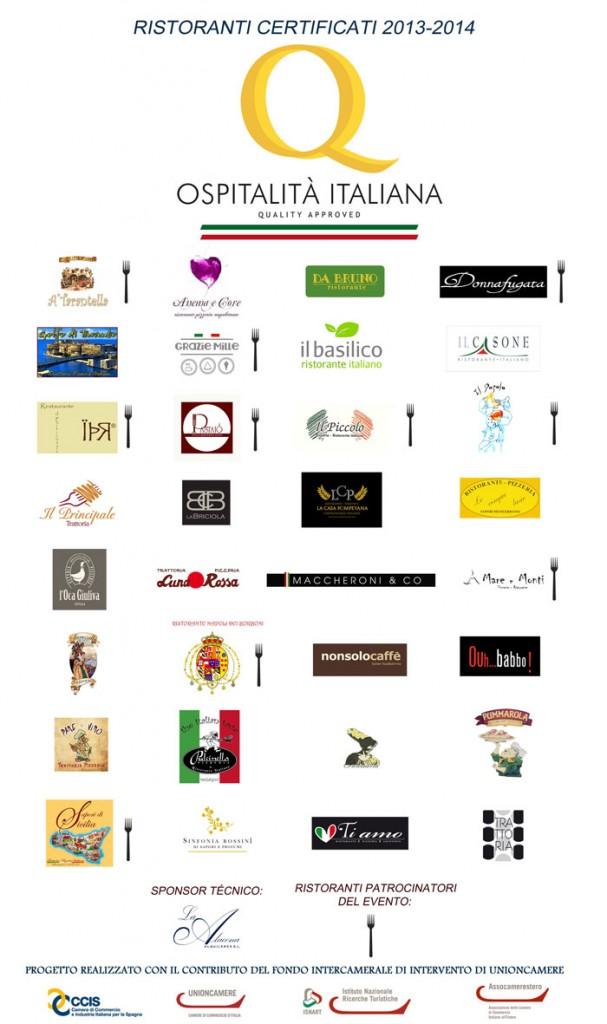 """Sono 33 i ristoranti italiani in Spagna certificati con il """"Marchio Ospitalità Italiana"""""""